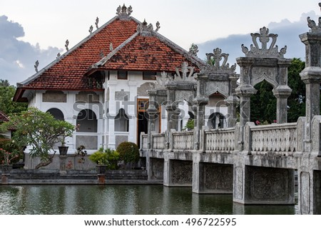 Ujung Palace emperor building in Bali Indonesia huge view landscape panorama at sunset