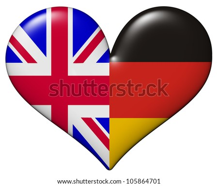 UK and German heart - stock photo