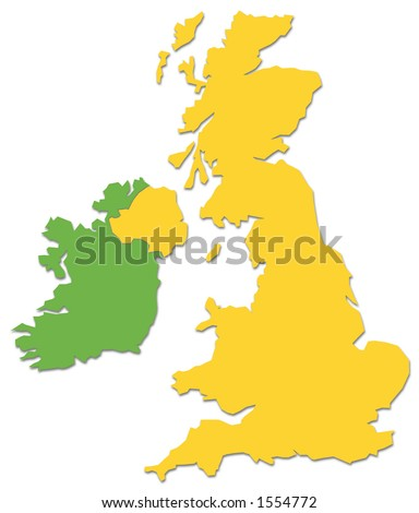 UK and Ireland outline in yellow and green