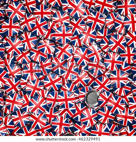 UK badges background / 3D illustration of shiny metallic badges with British flag