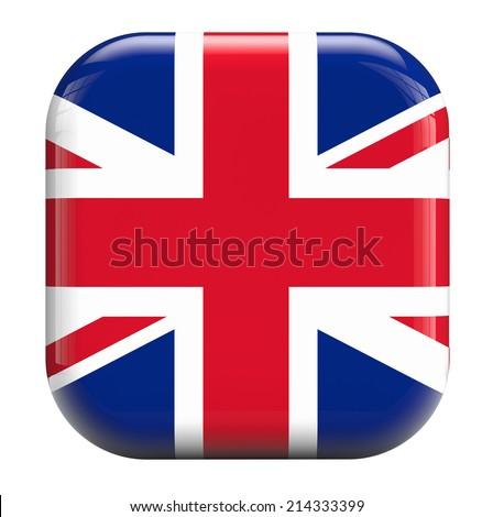 UK British flag icon isolated on white. - stock photo