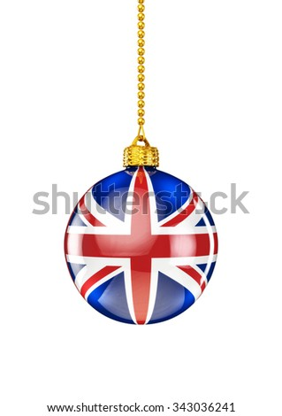 UK christmas ornament / 3D render of christmas ornament with British flag - stock photo