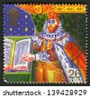 UK - CIRCA 1999: A stamp printed in UK shows image of the King James I and Bible (Authorised Version of Bible), circa 1999. - stock photo