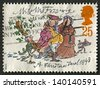 UK - CIRCA 1993: A stamp printed in UK shows image of the 150th Anniversary of Publication of A Christmas Carol, Mr and Mrs Fezziwig, circa 1993. - stock photo