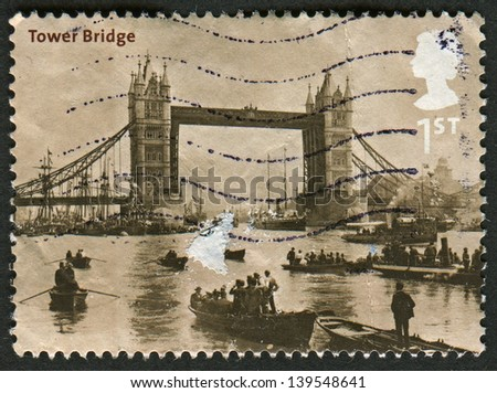 UK - CIRCA 2002: A stamp printed in UK shows image of the Tower Bridge, 1894 (Francis Frith), Bridges of London, circa 2002.