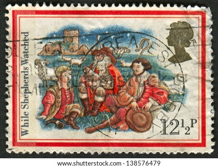 UK - CIRCA 1982: A stamp printed in UK shows image of The While Shepherds Watched, circa 1982.