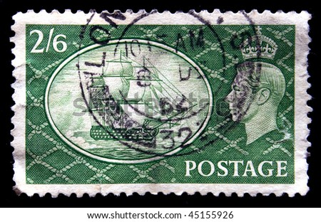 UK - CIRCA 1952: A stamp printed in Unired Kingdom shows sailboat and King George VI, circa 1952