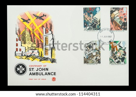 UK - CIRCA 1987: Commemorative First Day of Issue mail stamps printed in the UK, celebrating the centenary of the British St John Ambulance charity, circa 1987 - stock photo