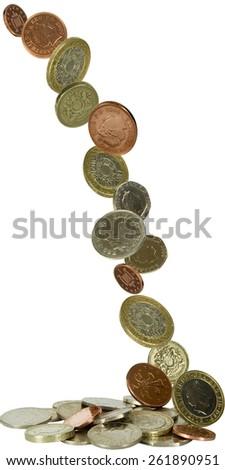 uk coins falling - stock photo