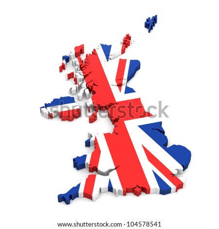UK 3d map covered by the UK Flag - stock photo