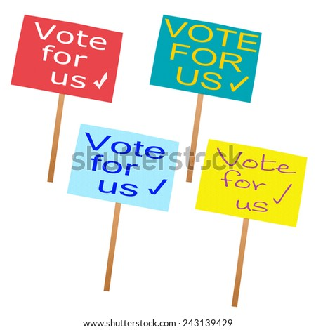 UK election in May. Conservatives, LibDems, Labour and UKIP placards. Isolated on white. - stock photo