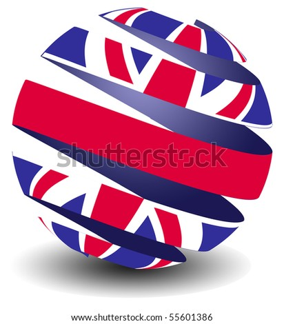 UK flag in a peeling sphere - stock photo