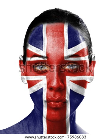 UK flag on beauty woman face - stock photo