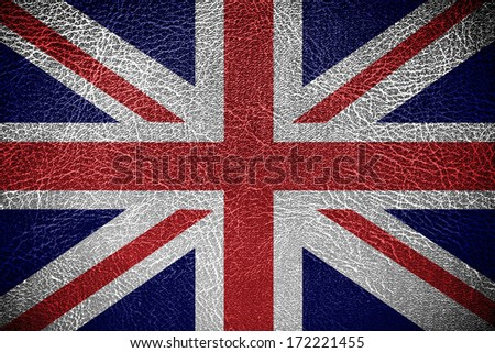 UK Flag on leather texture or background