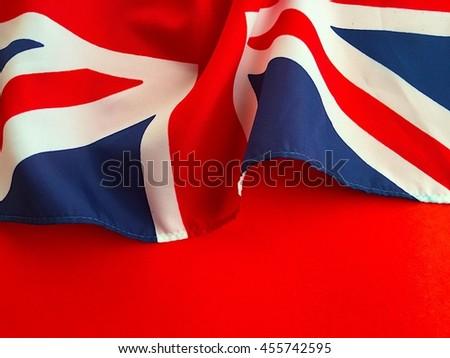 UK flag on red background - stock photo