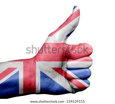 UK flag on thumb up gesture like icon - stock photo