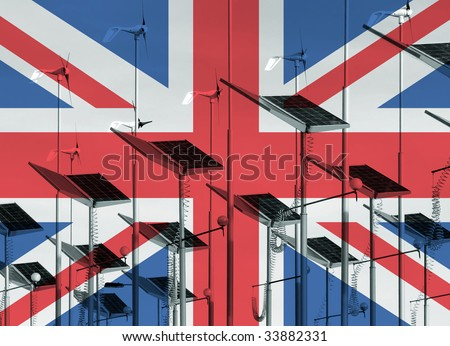 UK flag overlaid over wind generators and solar panels - stock photo