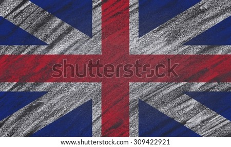 UK flag painted with chalk on a blackboard.