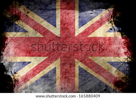 UK flag waving in the wind  - stock photo