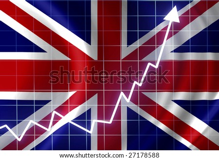 UK flag waving in the wind: growth - stock photo