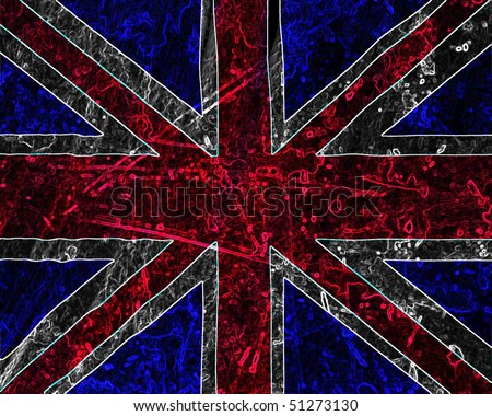 UK flag waving in the wind with some folds - stock photo