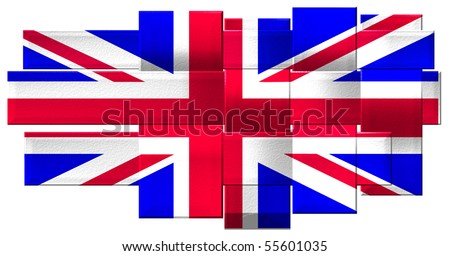 UK flag with mesh/weave effect - stock photo