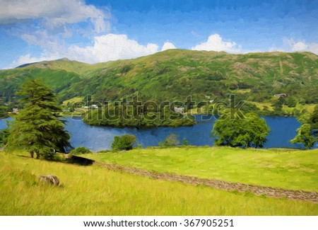 UK Lake District Grasmere Cumbria England UK with blue sky mountains and white clouds on a beautiful summer day in this National Park illustration like oil painting