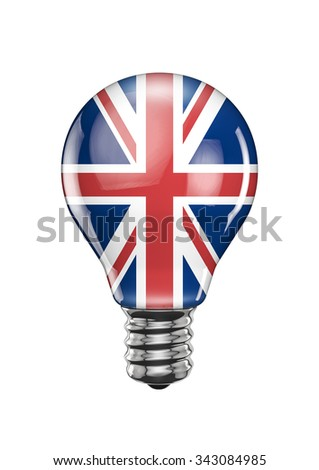 UK light bulb / 3D render of light bulb with British flag - stock photo