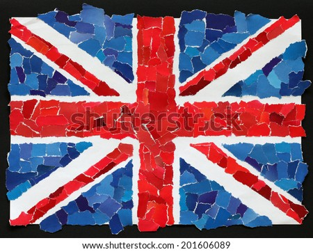 UK national flag made from many pieces of torn paper