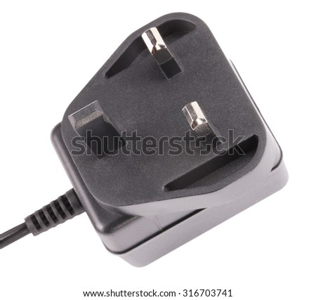 UK Outlet Plug with Cord Isolated - stock photo