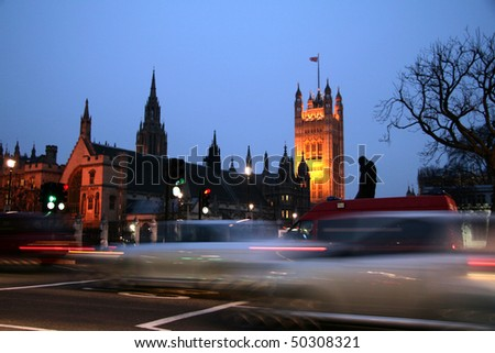 UK parliament at night