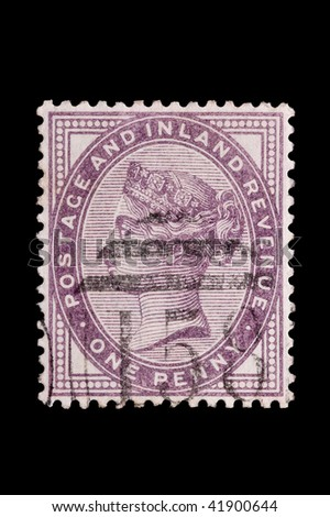 UK: penny lilac postage stamp portrait featuring Queen Victoria, circa 1890