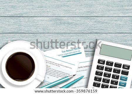 UK tax form with calculator, coffee lying on wooden desk with place for text - stock photo