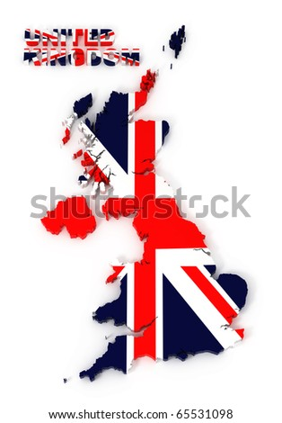 UK, United Kingdom map with flag, isolated on white with clipping path, 3d illustration - stock photo
