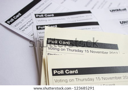 UK voters Polling information papers - stock photo