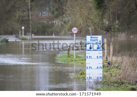 UK Winter Floods of 2014 in Cookham Village - stock photo