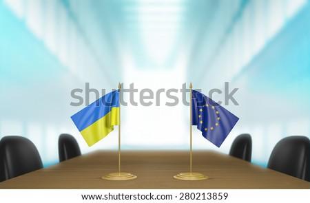 Ukraine and European Union deal talks - stock photo