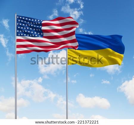 Ukraine and USA alliance - stock photo