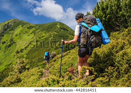 Ukraine. Carpathian. July,18. A group of tourists with big backpacks down from the mountains