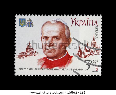 UKRAINE - CIRCA 2001: cancelled stamp printed in Ukraine, shows Pope John Paul II during his visitI to the Ukraine, circa 2001. - stock photo