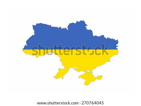ukraine country flag map shape national symbol - stock photo