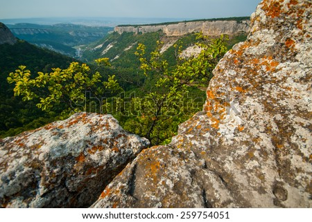 UKRAINE, CRIMEA - AUG 22.08. 2008: Mangup Kale (kale means fortress) is a historic fortress in Crimea, located on a plateau about 9 miles due east of Sevastopol. - stock photo