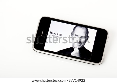 UKRAINE, CRIMEA - OCT 6: The Apple site pays tribute to CEO Steve Jobs, who died on Oct 5, 2011, with a photo on the site.  Shown here on an iPhone on Oct 6, 2011. - stock photo