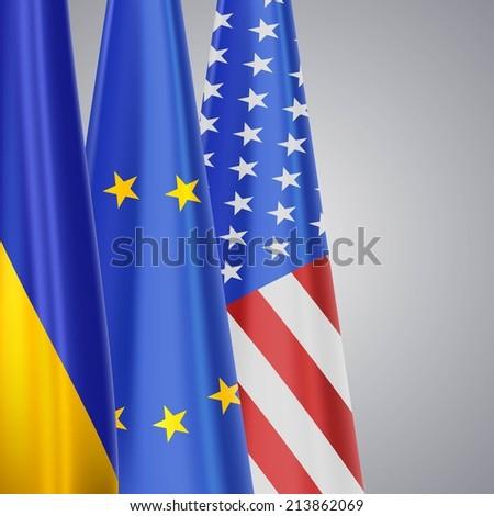 Ukraine EU USA flags - stock photo