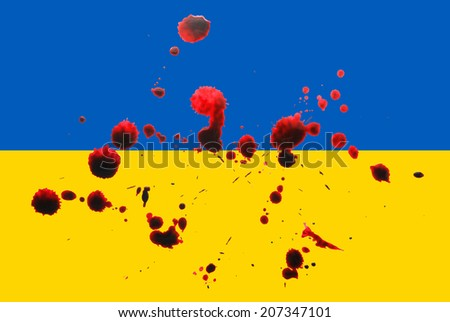 ukraine flag with blood stains, concept image suggesting the ukrainian war in eastern europe - stock photo