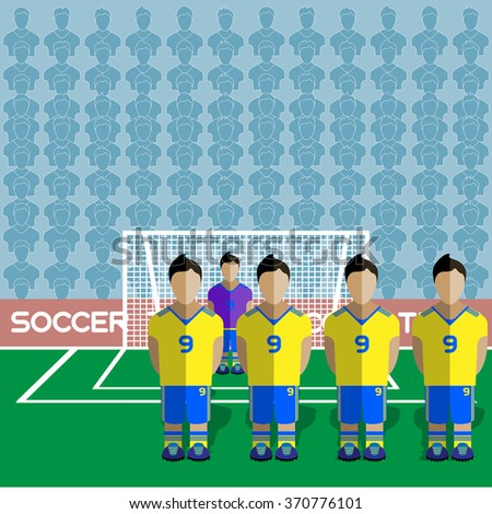 Ukraine Football Club Soccer Players Silhouettes. Computer game Soccer team players big set. Sports infographic. Football Teams in Flat Style. Goalkeeper Standing in a Goal. Raster illustration. - stock photo