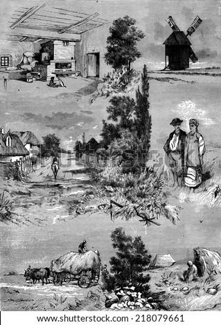Ukraine. Inside a hut. Windmill. Road and house. Costume. Haymaking, vintage engraved illustration. Journal des Voyage, Travel Journal, (1880-81). - stock photo