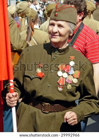 UKRAINE, KIEV - MAY 9: Ceremonial parade at Kiev main street - Khreshchatyc - dedicated to the 64th Anniversary of victory in Great Patriotic War (World War II). Parade of victory. Kiev, May 9, 2009 - stock photo