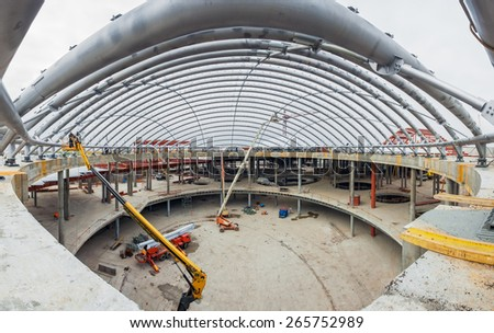 UKRAINE, KIEV - OCT 12: Metal structure, the atrium. Progress in the construction of shopping mall Republic on October 12, 2013 in Kiev, Ukraine.
