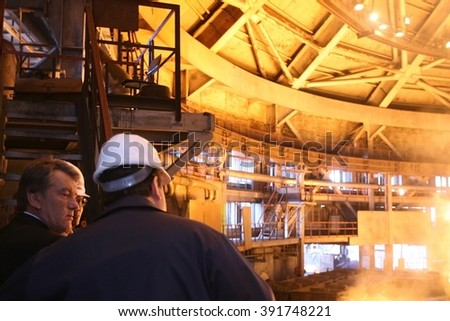 UKRAINE, KRUVYI RIH, June,14, 2007 Victor Yuschenko during his visit to Kryvorizhstal (the largest and most up-to-date steel company in the Kryvbas region)